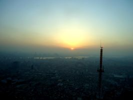 Sunset on Seoul Tower by fu-bu