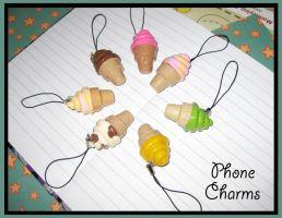 Ice Cream Phone Charms by softbluecries