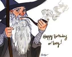 Happy Birthday from Gandalf by RazSketch