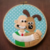 Wallace and Gromit Embroidery Hoop by iggystarpup