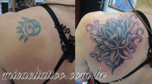 Lotus cover-up by micaeltattoo