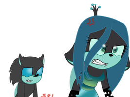 Queen Chrysalis And A Changeling Sonic Version by Selena-Angel-The-Dog