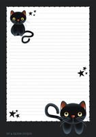 Letter Paper - Black Cat by Tang-Tang