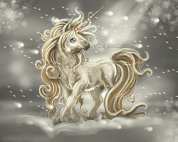 Unicorn in blizzard by MiloshJevremovic