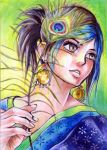 ACEO-Naali with Peacock Feather by Denaliah