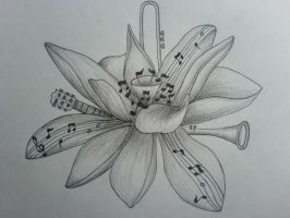 Music-flower tattoo design by jes-si-ca