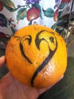 Tattoo on an orange first time by skinny-artist