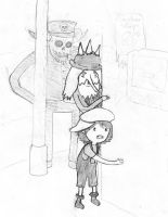 simon chaplin and the little girl marcy (sketch) by santriki