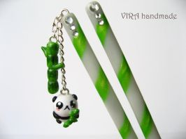Candy hair sticks with panda by virahandmade