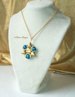 Zora Sapphire L Pendant Goldtone Necklace Zelda TP by TorresDesigns