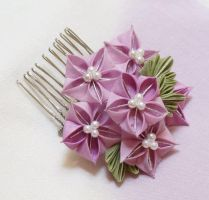 Soft Lavender Bellflower Kanzashi 152 by japanesesilkflowers