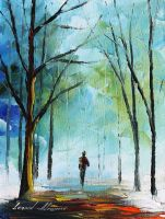 Fog in the park by Leonid Afremov by Leonidafremov