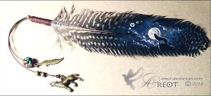 Feather painting - Howling wolf by areot