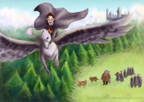Harry on his first ride on buckbeak by Farbtropfen