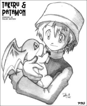 Digimon 02: Takeru and Patamon by prongsie