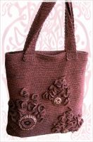 Brown crochet handbag by Shurka