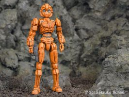 Female 3D printed robot figure with faceguard by hauke3000