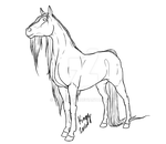Horse Standing Line Art by Pale-Kingy