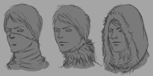 Female hunter face sketches by Dante-mL