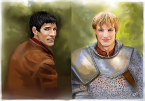 Merlin and Arthur by DreamyArtistRoxy3
