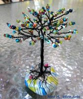 Blue spring wire tree with flowers by HollieBollie
