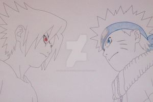 ''Let's fight you fool!'' Naruto and Sasuke by SakakiTheMastermind