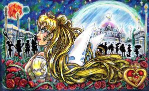 Watching over them- sailor moon Fanart by Mmystery