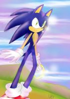 Sonic The Hedgehog-in the mountains by Klaudy-na