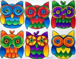 Colorful Owls by PennySamson