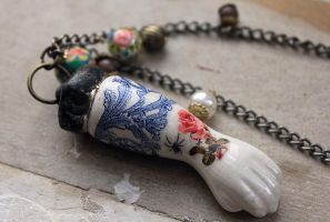 Antique Porcelain Tattooed Doll Arm Necklace #2 by asunder