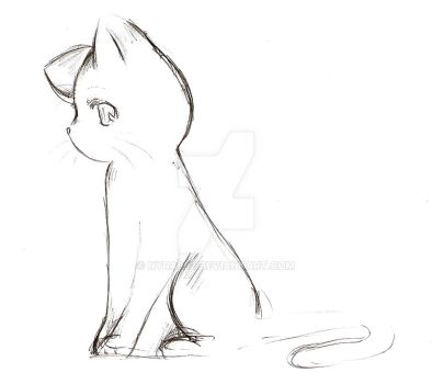 Anime Cat Sketch by Nyra992