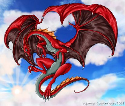 Red Flying Dragon by Ember-Eyes