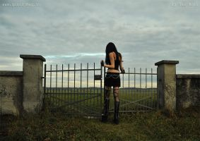 girl leaving the old cemetary by Val-Mont