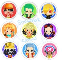 Straw hat crew buttons by thehairypeach
