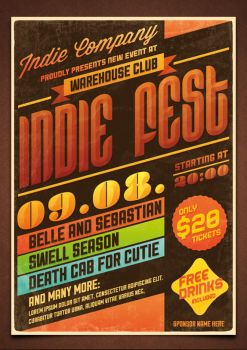Indie Fest Flyer Poster No2 PSD Template by moodboy