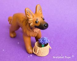 Harzer Fuchs dog commission with a lavender basket by SculptedPups