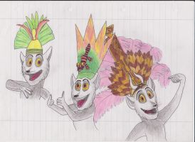 King Julien and his crowns by MsKitti3