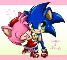 chibi Amy and chibi Sonic by Extra-Fenix