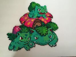 Bulbasaur Evolution Perler Bead Design by Amber--Lynn