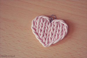 Polymer clay knitted heart by Merry339
