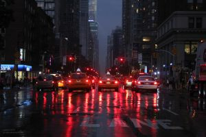 Stop Lights on Wet Street by Sputzke