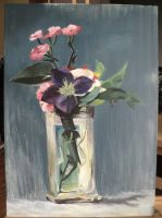 Carnations and Clematis in a Crystal Vase by Brysiaa