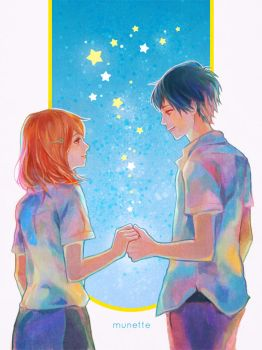 Naho and Kakeru by munette