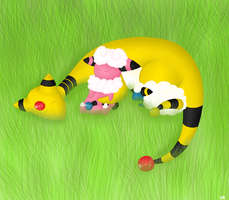 Ampharos, Flaaffy and Mareep by BoWhatElse