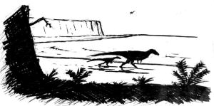 Walking with dinosaurs on the beach first sketch by maniraptora