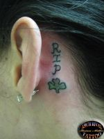 memorial tattoo behind ear by theothertattooguy
