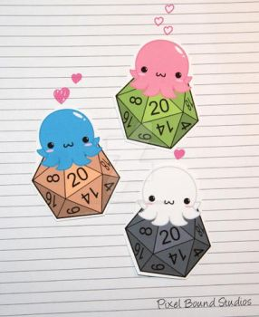 Chibi Octopus on d20 Stickers and Magnets by pixelboundstudios