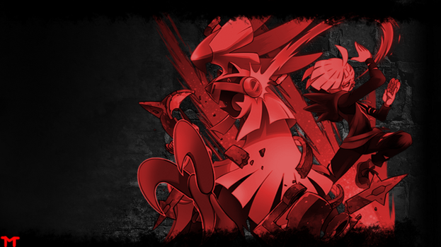 Gladion and Silvally Wallpaper (Red Variation) by Morshute