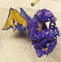 OOAK Purple Dragon ornament by CreativeCritters