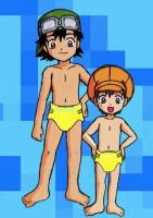 Diapered Takuya and Tommy 'yellow diapers' by drwhovian101